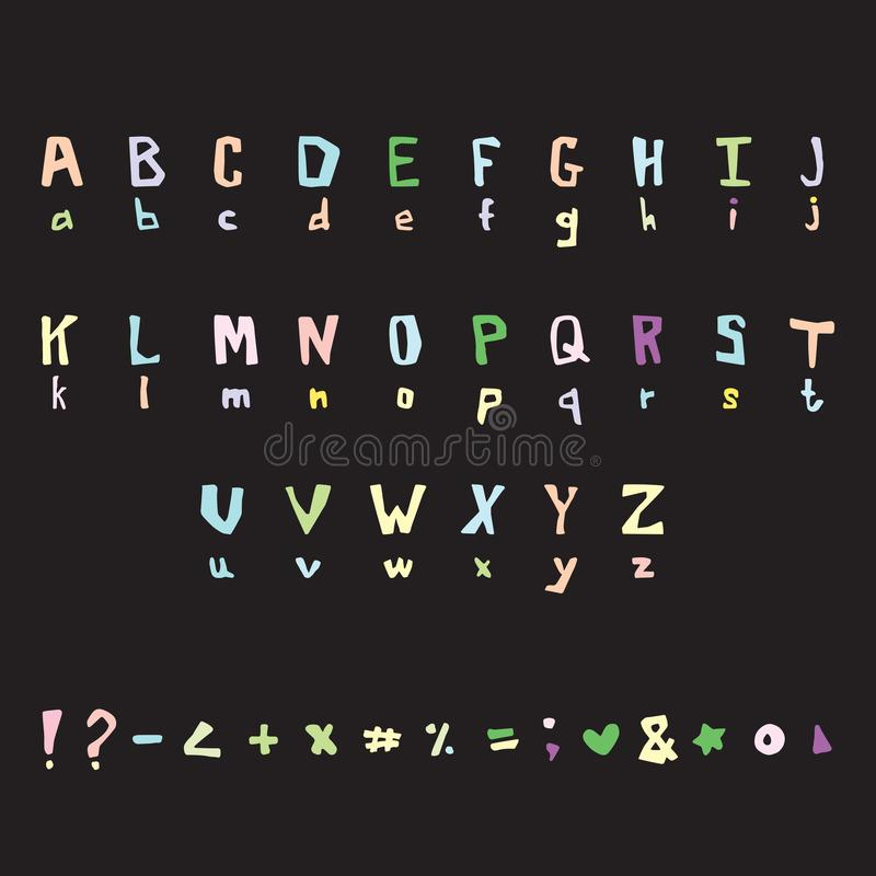 Vettore sveglio delle lettere Fonte scritta a mano illustrazione di stock