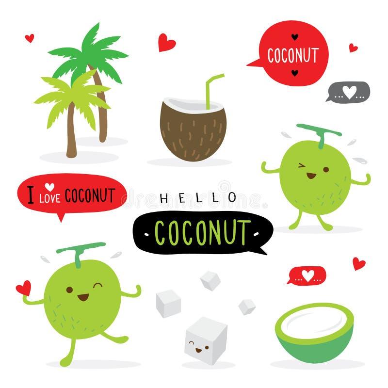 Vettore sveglio divertente del carattere di sorriso del fumetto di estate della frutta della noce di cocco royalty illustrazione gratis