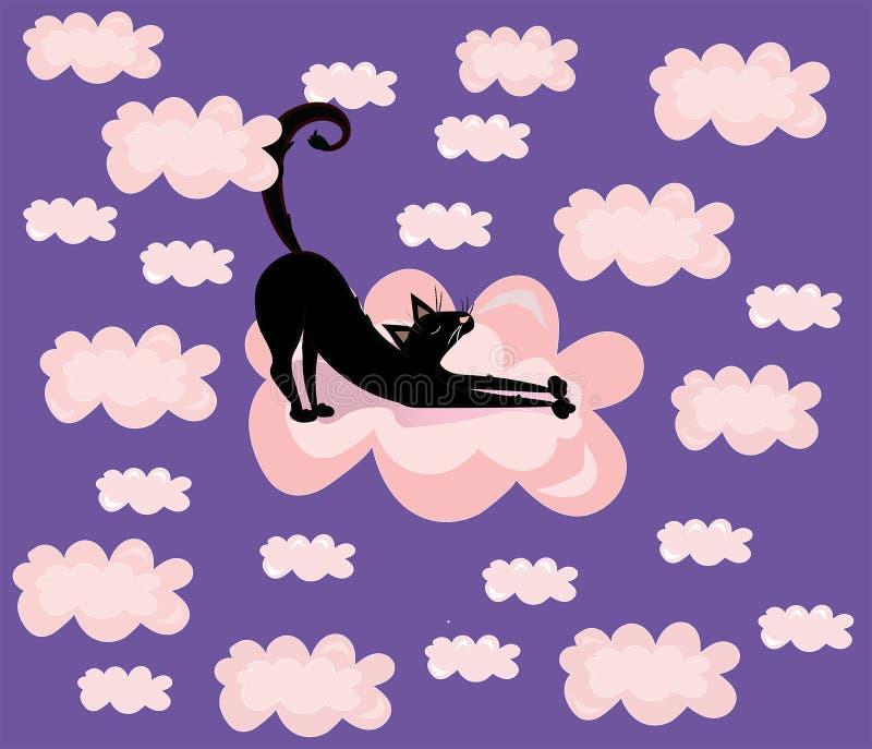 Vettore sveglio, divertente, illustrazione del fumetto, stampa con il gatto nero nei precedenti viola delle nuvole di rosa royalty illustrazione gratis