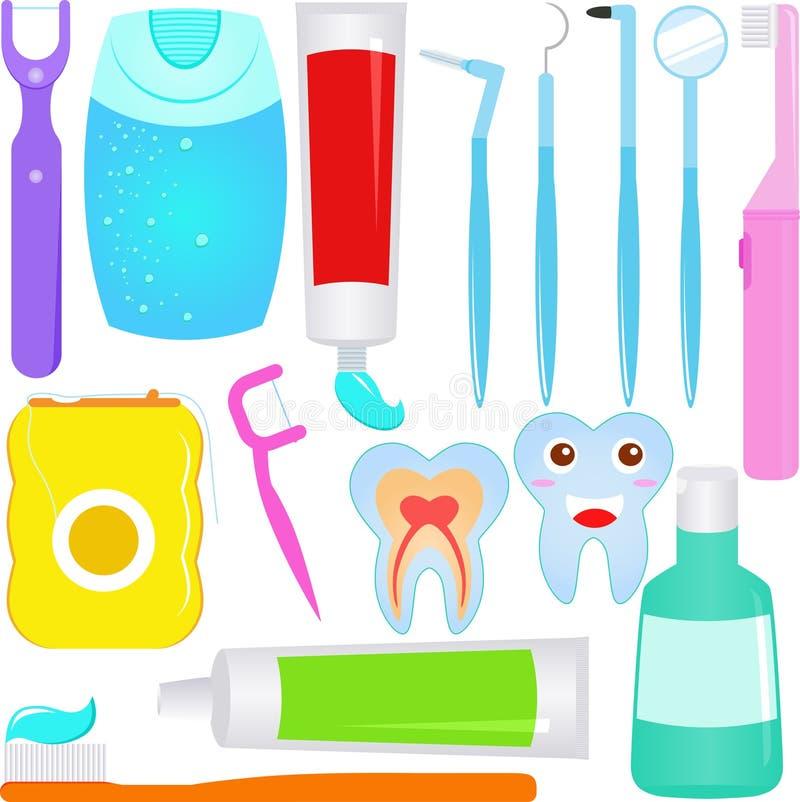 Vettore sveglio: Icone del dentista di cura dentale (dente) illustrazione di stock