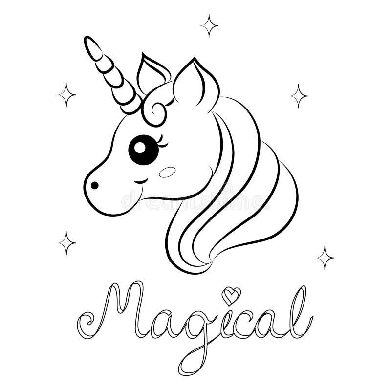Vettore sveglio Unicorn Coloring Page del fumetto illustrazione vettoriale