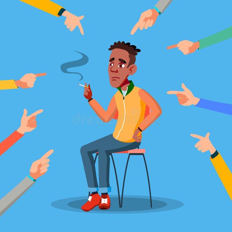 Vettore teenager afroamericano della vittima Persona depressa Colpevole, imbarazzato Mani che indicano barretta Illustrazione illustrazione di stock