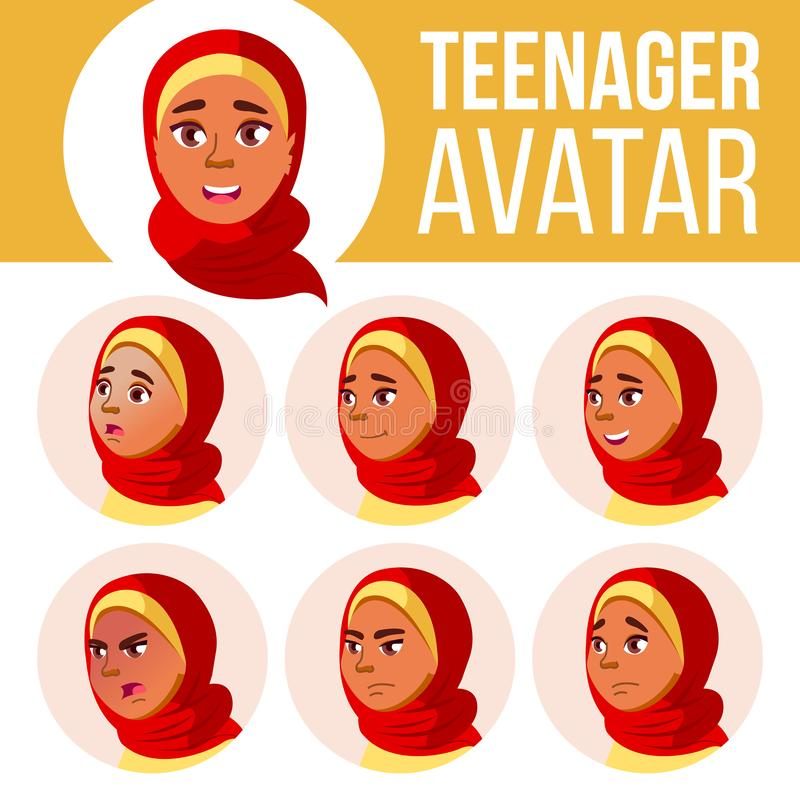 Vettore teenager arabo e musulmano dell'insieme dell'avatar della ragazza Hijab Affronti le emozioni impressionabile Svago, sorri illustrazione di stock