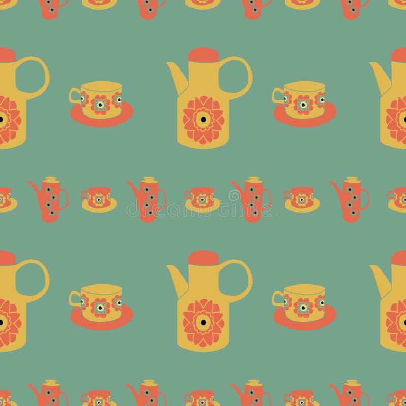 Vettore, tempo per tè, retro, fondo senza cuciture del modello, progettazione del modello della superficie royalty illustrazione gratis