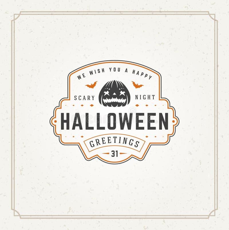 Vettore tipografico di progettazione della cartolina d'auguri di Halloween fotografia stock