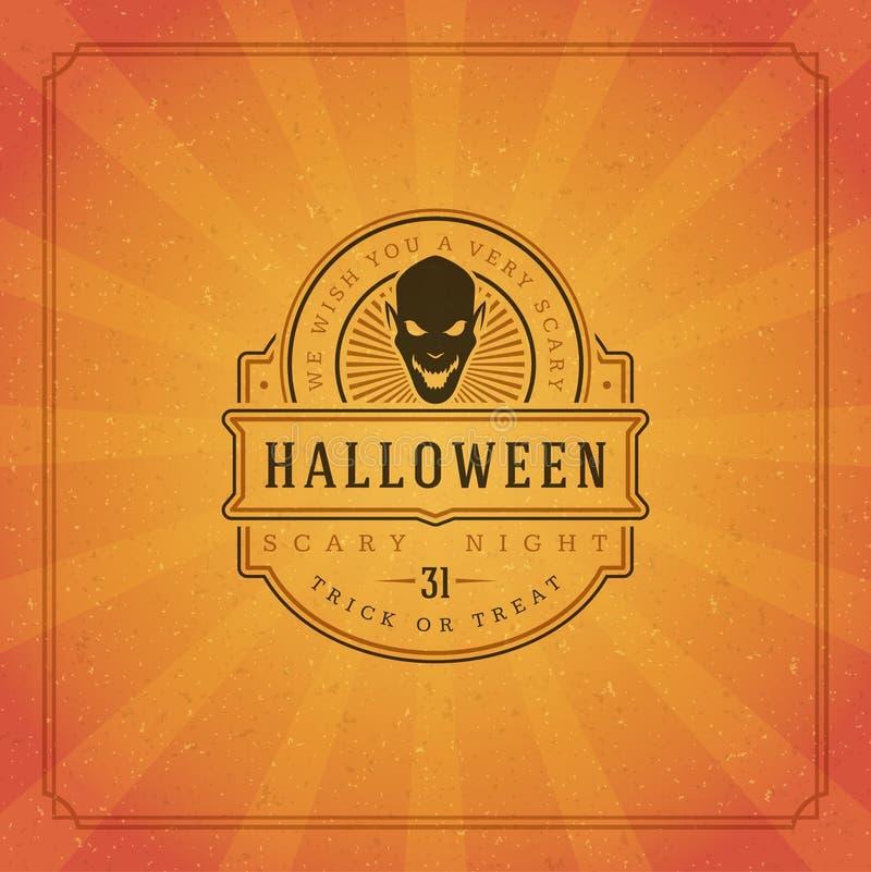 Vettore tipografico di progettazione della cartolina d'auguri di Halloween immagini stock libere da diritti