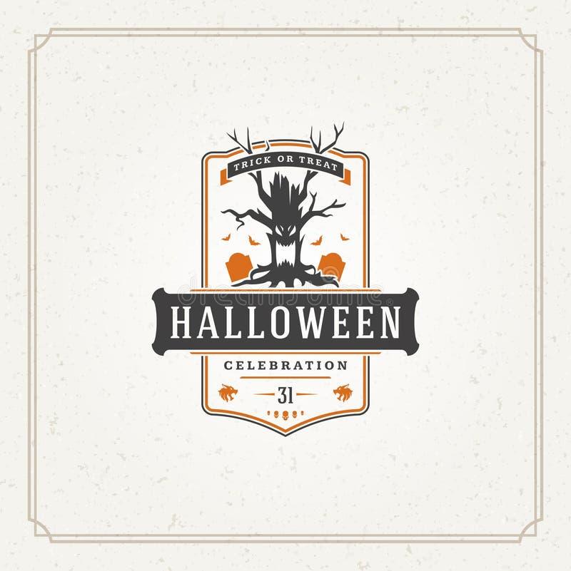 Vettore tipografico di progettazione della cartolina d'auguri di Halloween fotografia stock libera da diritti