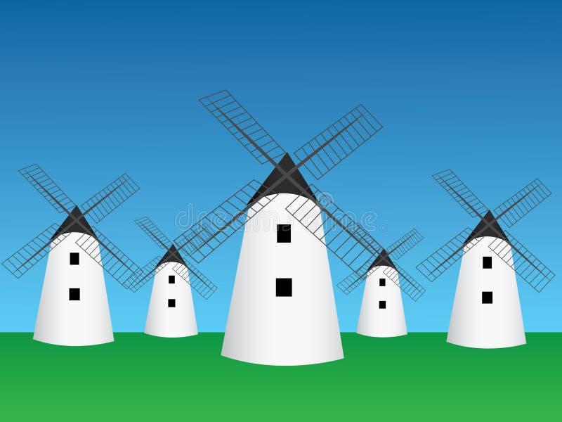 Vettore tradizionale di molte vecchio case del mulino a vento in campo aperto e cielo blu verdi per macinare l'illustrazione del  illustrazione vettoriale