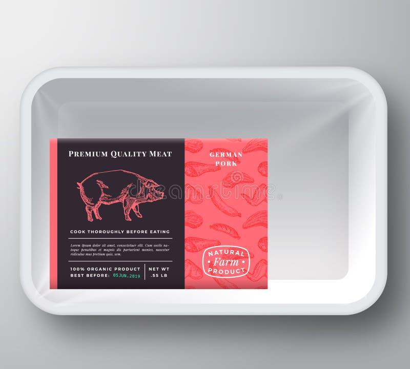 Vettore Tray Container Cover di plastica dell'estratto della carne di maiale Disposizione premio dell'etichetta di progettazione  illustrazione di stock