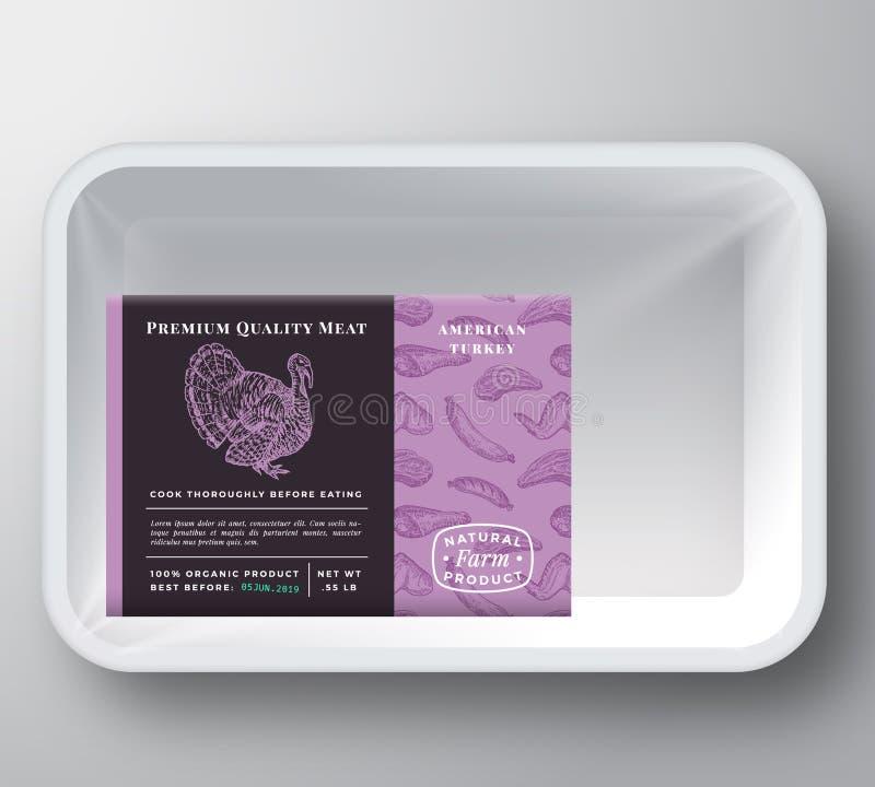 Vettore Tray Container Cover di plastica dell'estratto della Turchia Disposizione premio dell'etichetta di progettazione di imbal illustrazione di stock