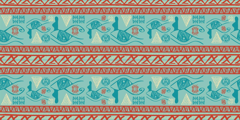 Vettore tribale del modello con stile antico di simbolo egiziano senza cuciture Fondo d'annata dell'illustrazione per la stampa d royalty illustrazione gratis