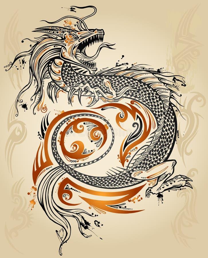Vettore tribale del tatuaggio di abbozzo del drago illustrazione di stock