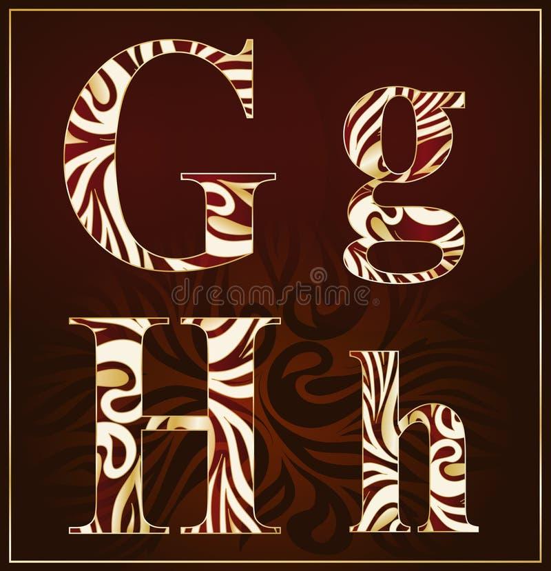 Vettore, un alfabeto del lusso (G, H) illustrazione di stock