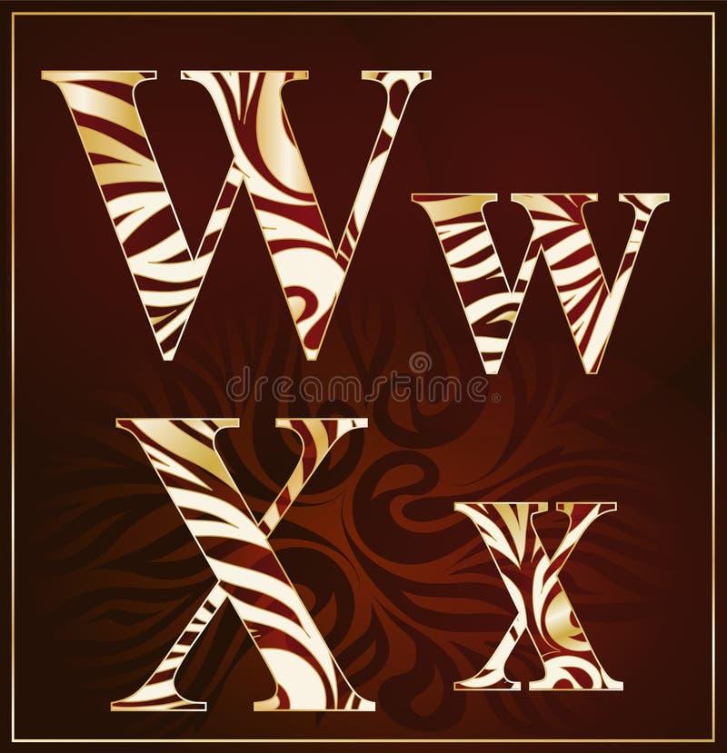 Vettore, un alfabeto del lusso (W, X) royalty illustrazione gratis