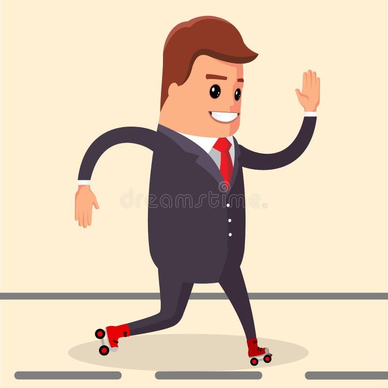 Vettore, uomo d'affari felice Carattere del responsabile sui pattini di rullo illustrazione di stock