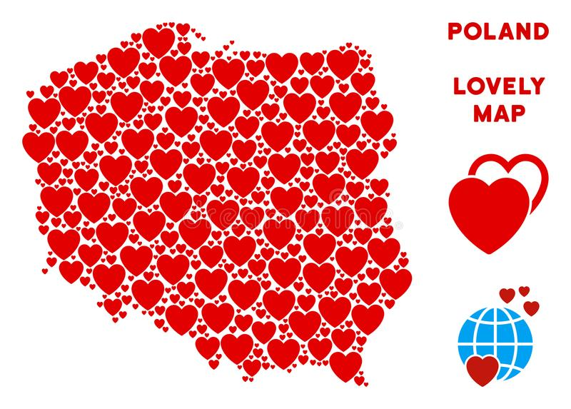 Vettore Valentine Poland Map Mosaic dei cuori illustrazione vettoriale
