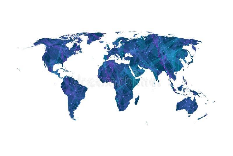 Vettore variopinto della mappa di mondo Collegamenti di rete globale con i punti e le linee Fondo del collegamento a Internet Est illustrazione vettoriale