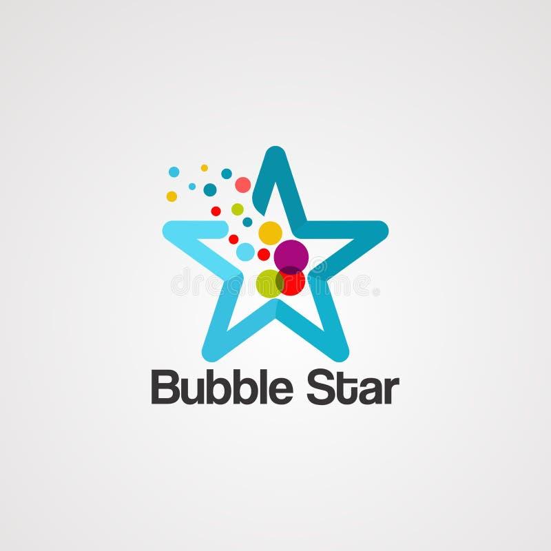 Vettore variopinto, icona, elemento e modello di logo della stella della bolla per la societ? illustrazione di stock