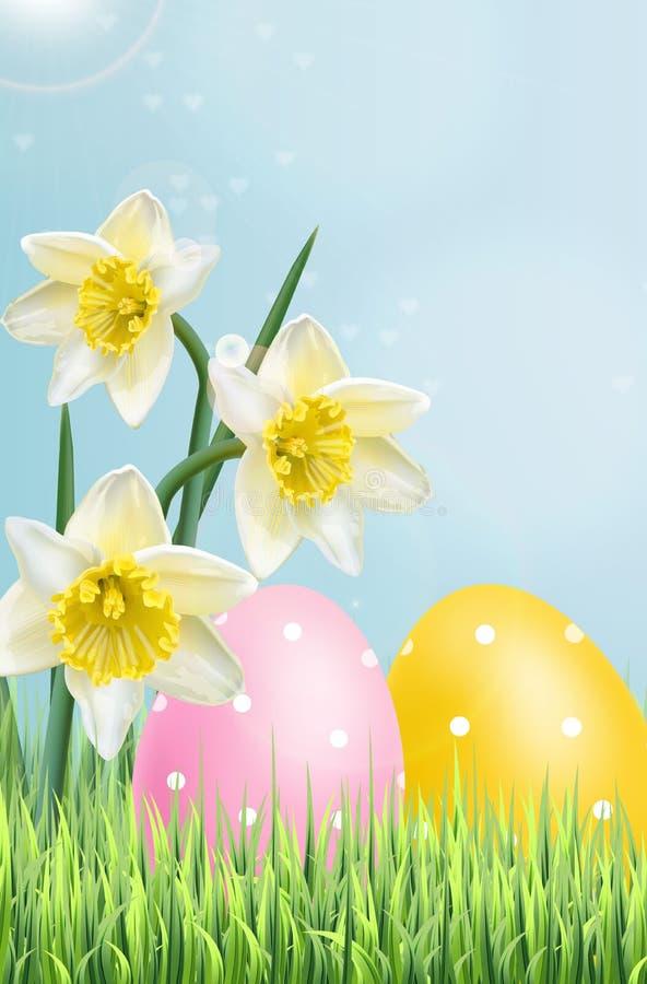 Vettore variopinto tradizionale delle uova di Pasqua realistico Insegna di festa della primavera Fiori del mazzo del narciso 3d h illustrazione di stock