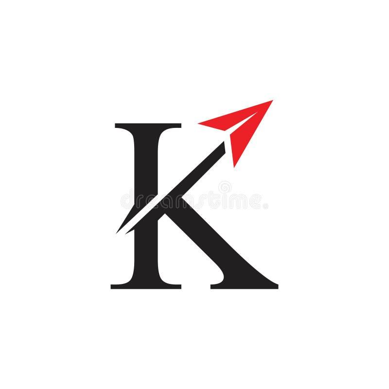 Vettore veloce di logo dell'aereo di aria della freccia della lettera K royalty illustrazione gratis