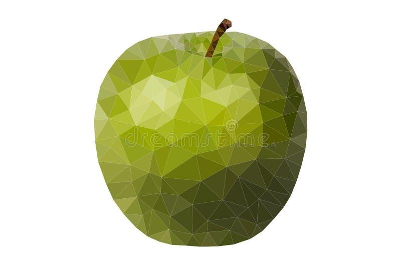 Vettore verde del poligono della mela royalty illustrazione gratis