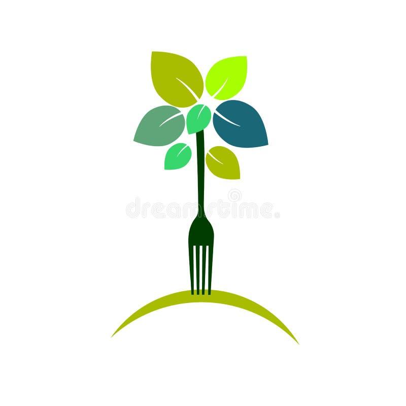 Vettore verde vegetariano dell'icona organica della foglia illustrazione di stock