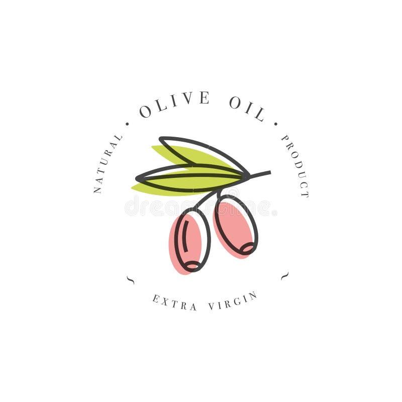 Vettore vergine extra di progettazione di logo dell'olio d'oliva dell'etichetta della società illustrazione vettoriale