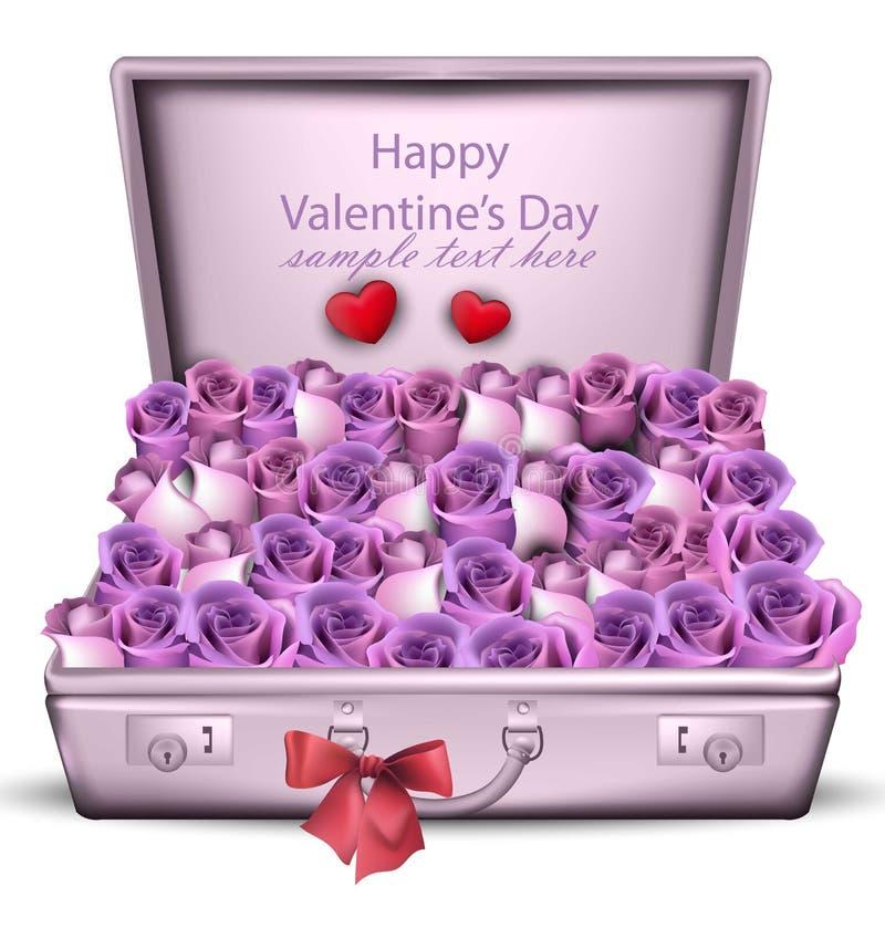 Vettore viola del mazzo delle rose Carte romantiche di giorno di S. Valentino felice illustrazione vettoriale