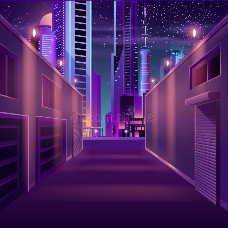 Vettore vuoto del fumetto della stradina della città di notte illustrazione di stock