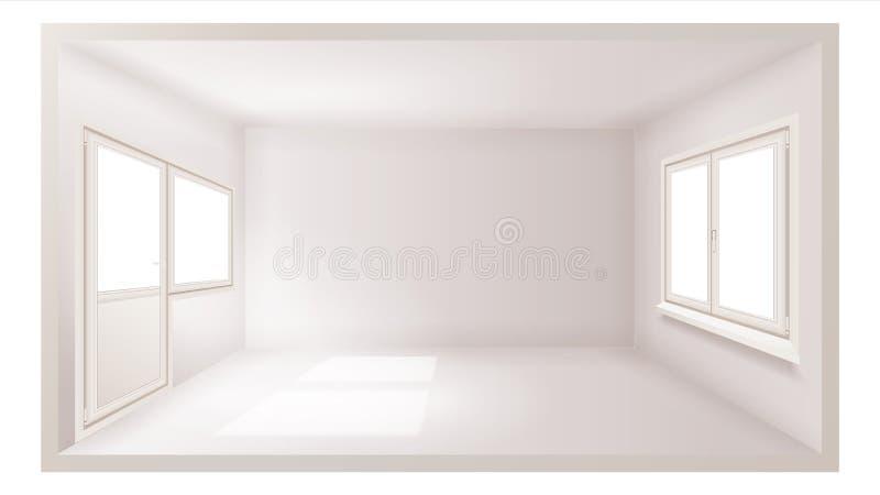 Vettore vuoto della stanza Parete vuota Luce solare che cade Priorità bassa di architettura Sofà e pranzo-vagone angolari nell'in illustrazione vettoriale