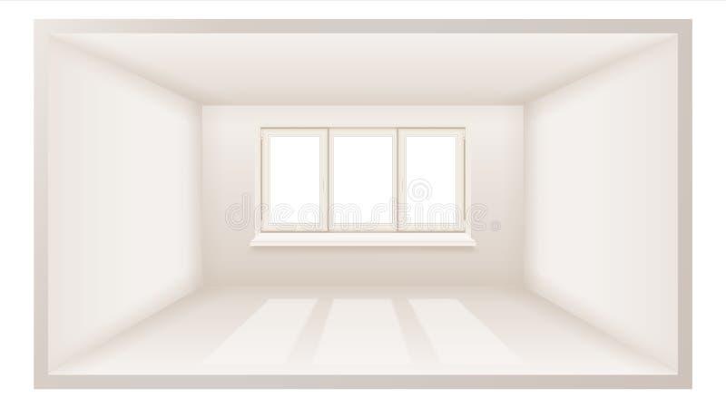 Vettore vuoto della stanza Pulisca la parete Luce solare che cade Spazio tridimensionale illustrazione realistica 3d royalty illustrazione gratis