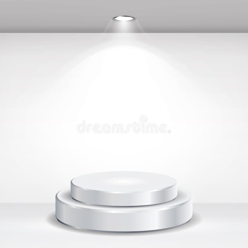 Vettore vuoto rotondo del podio Tribuna realistica sull'interno della galleria con la parete e le lampade vuote Illustrazione di  illustrazione di stock