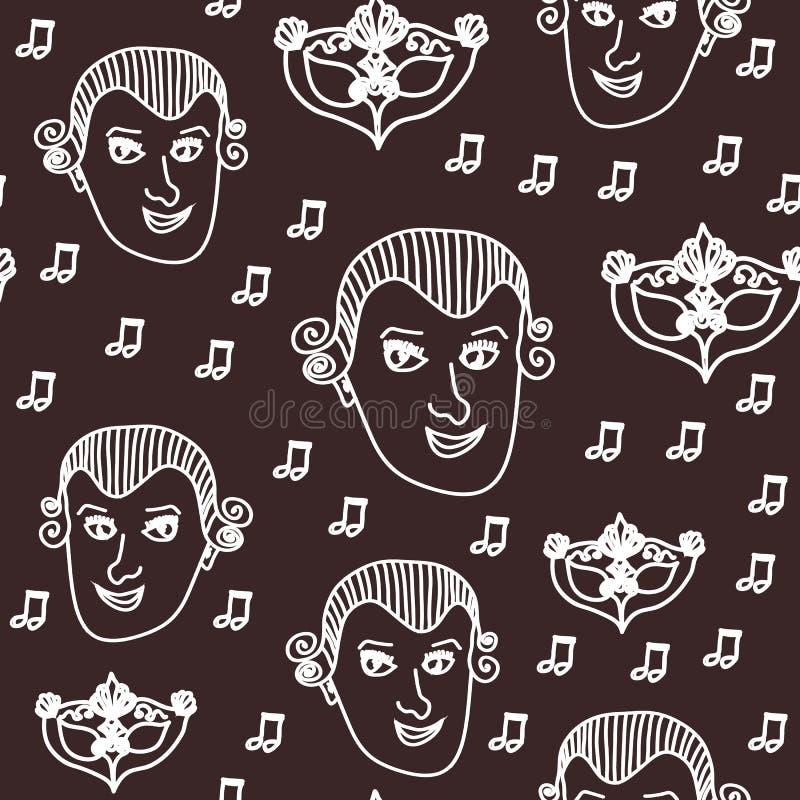 Vettore Wolfgang Amadeus Mozart che ripete il fondo senza cuciture del modello con Mozart, le note e la maschera barrocco di carn royalty illustrazione gratis