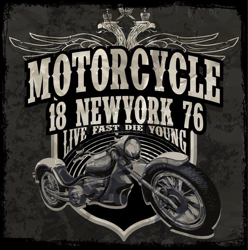Vettori d'annata dei grafici della maglietta del motore di tipografia del motociclo illustrazione vettoriale