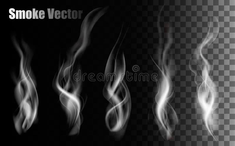 Vettori del fumo su fondo trasparente illustrazione di stock
