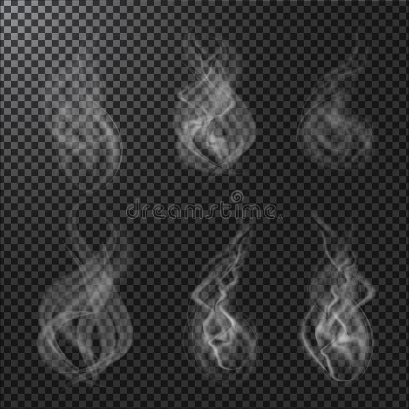 Vettori del fumo su fondo trasparente illustrazione vettoriale