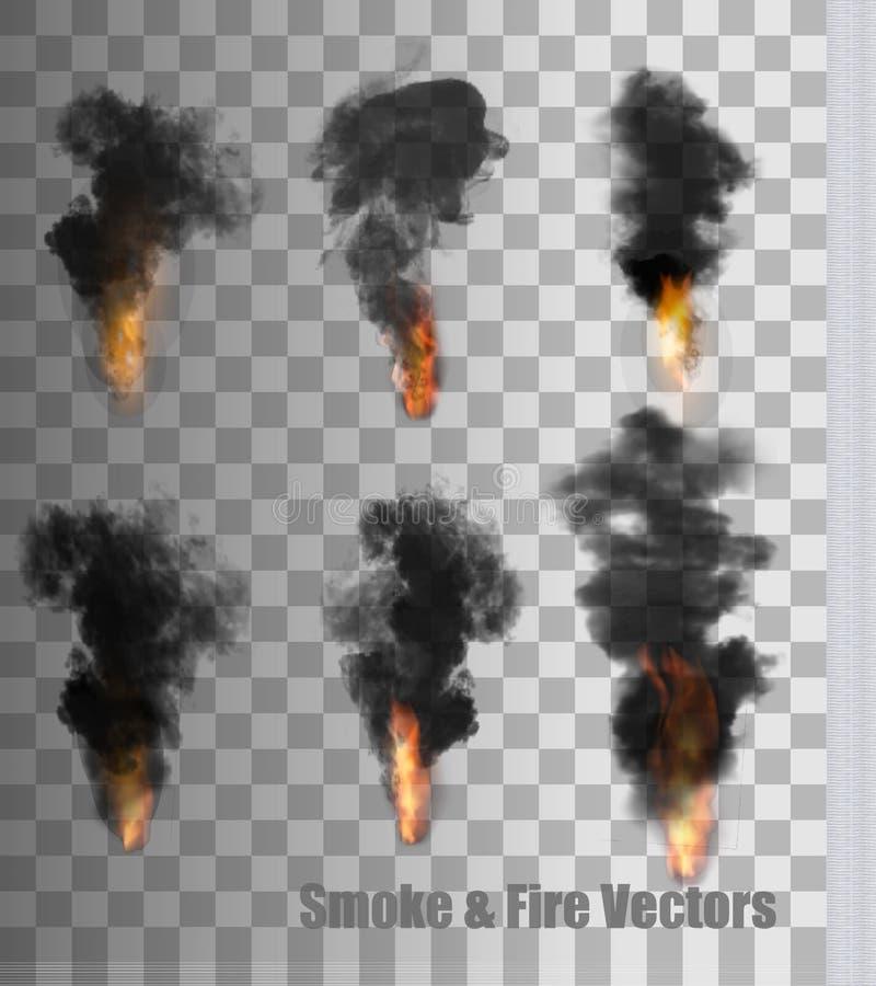 Vettori del fuoco e del fumo su fondo trasparente illustrazione di stock