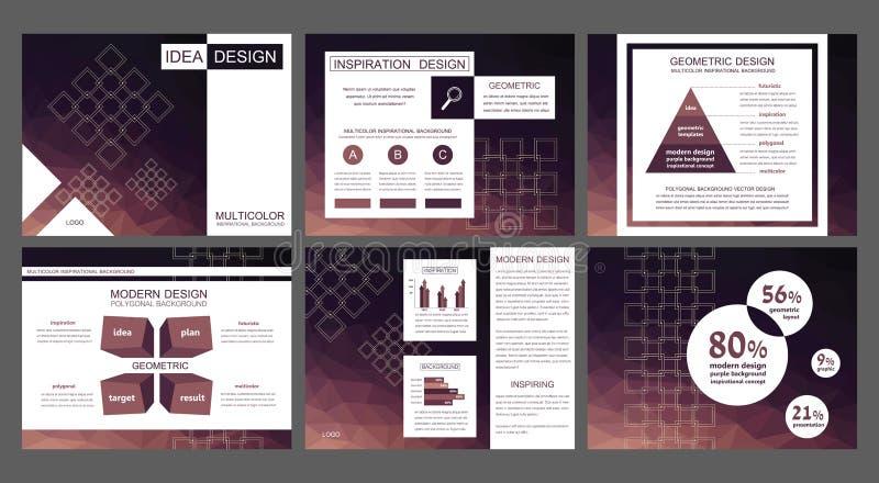 Vettori porpora dei modelli di presentazione di PowerPoint del Bordeaux moderno illustrazione vettoriale
