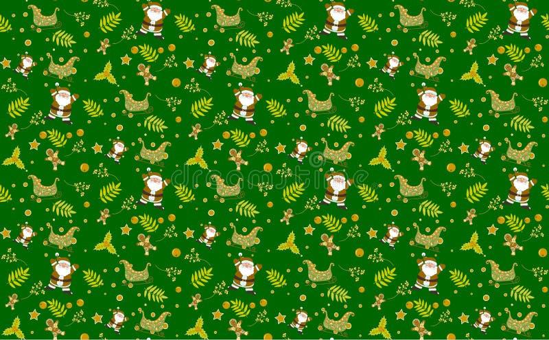 Vettori senza cuciture degli ambiti di provenienza di verde del modello di Natale, raccolta delle scatole con la decorazione semp immagini stock