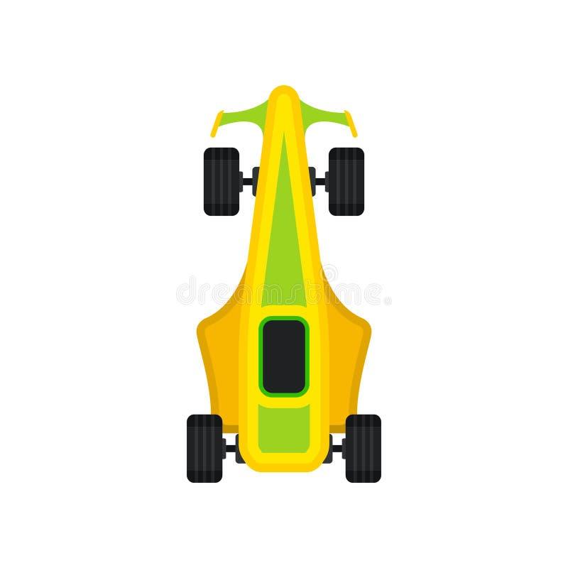 Vettura da corsa, motore d'accelerazione che corre l'illustrazione di vettore di vista superiore del bolid illustrazione di stock
