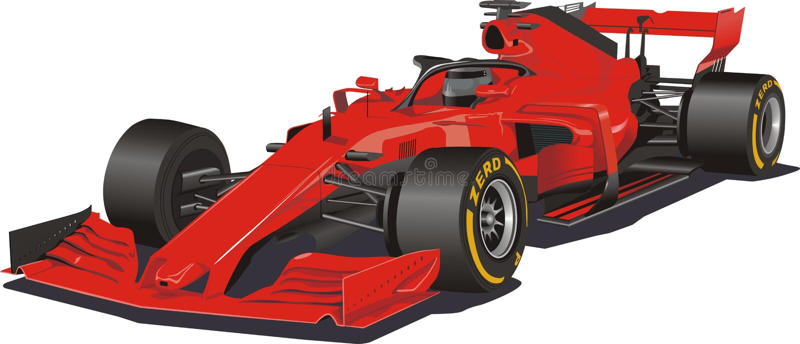 Vettura da corsa nel vettore Formula 1 Automobile rossa su priorità bassa bianca illustrazione di stock