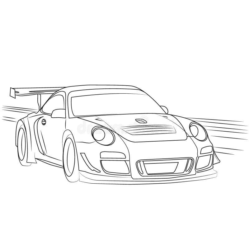 Vettura da corsa sul contorno disegnato movimento illustrazione vettoriale