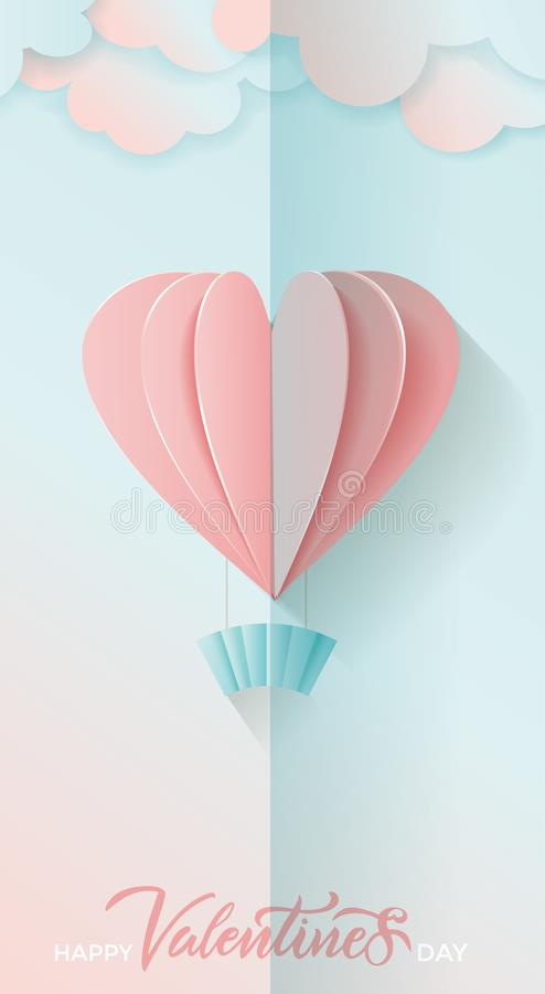 Vetyical横幅为情人节 在愉快的情人节上写字 3D飞行桃红色和蓝纸心脏气球和云彩Vecto 向量例证