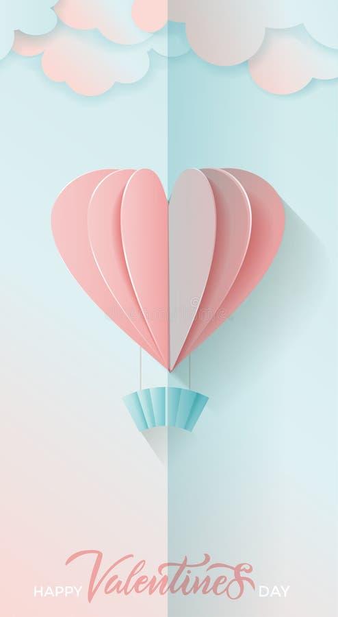 Vetyical-Fahne f?r Valentinstag Beschriften des gl?cklichen Valentinstags Rosa und blaue Papierherzballone und Wolken Vecto des F vektor abbildung