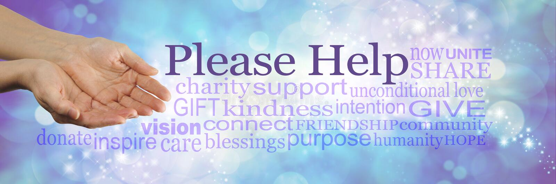 Veuillez aider notre cause image stock