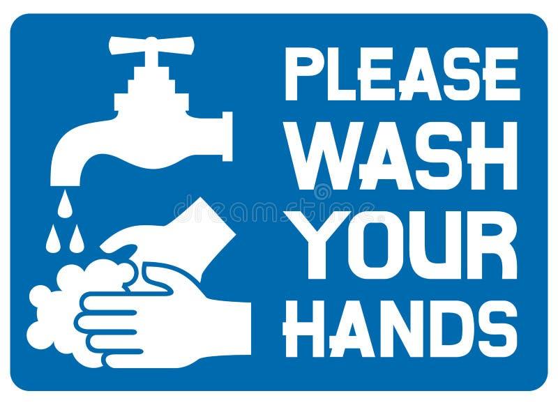 Veuillez laver votre signe de mains illustration de vecteur