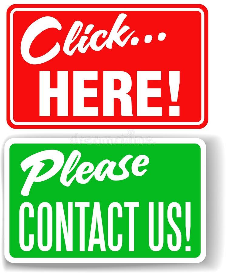Veuillez nous contacter cliquettent ici des signes de mémoire illustration libre de droits