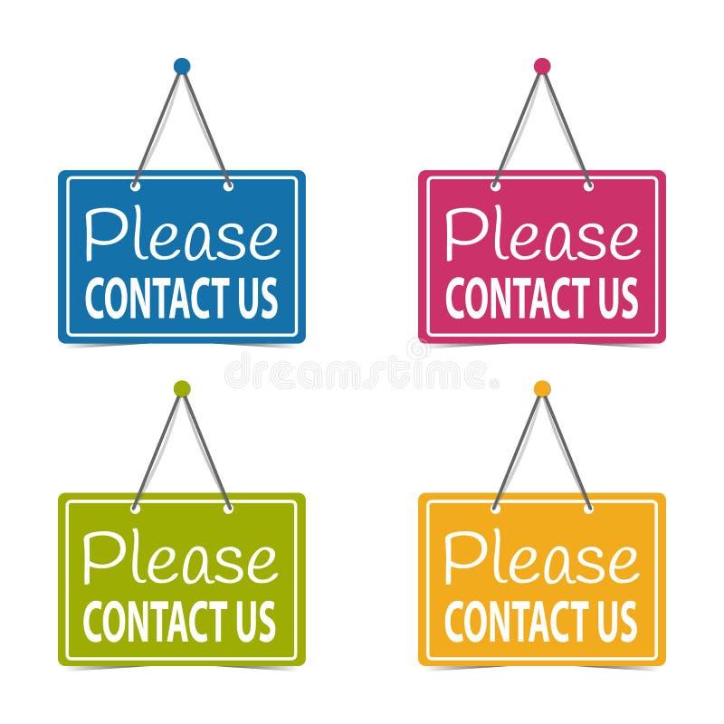 Veuillez nous contacter les signes accrochants d'affaires - illustration de vecteur - d'isolement sur le fond blanc illustration libre de droits