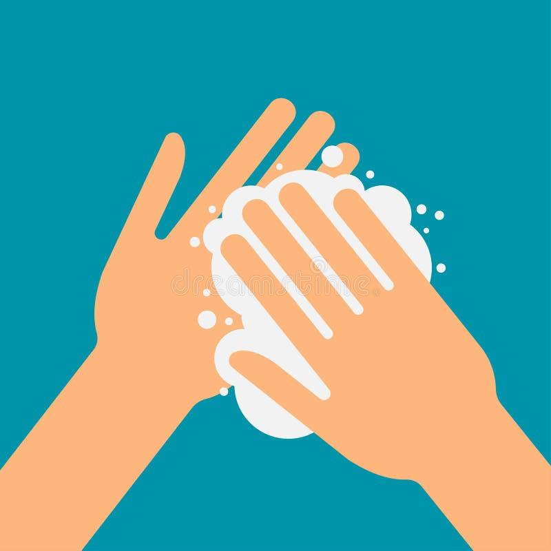 Veuillez se laver les mains illustration stock