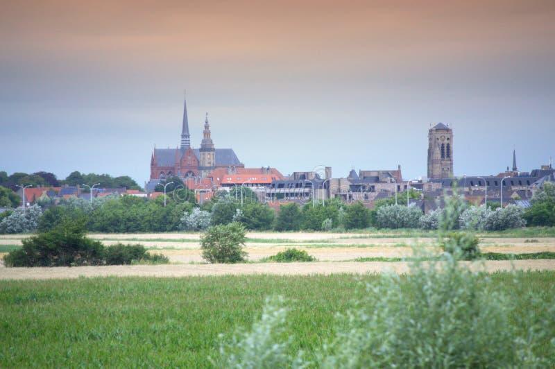 Veurne cityscape Flanders Belgien royaltyfri fotografi